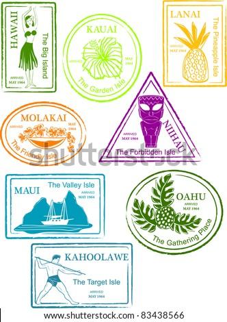 Retro Tropical Hawaiian Island Set of Fun Passport Stamps Vector Illustration - stock vector