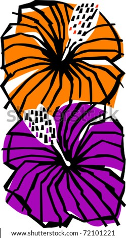 Retro Tropical Hibiscus Flowers Vector Illustration - stock vector
