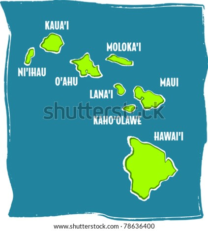 Retro Tropical Map of the Hawaiian Islands Chain Vector Illustration - stock vector