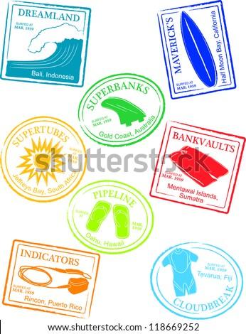 Retro Tropical Surf Break Passport Stamps Vector Illustration - stock vector