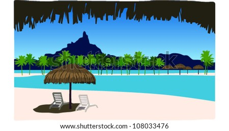 Retro Tropical Tahitian Lagoon Scene Vector Illustration - stock vector