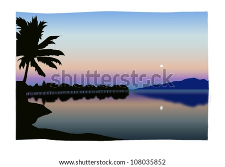Retro Tropical Tahitian Overwater Bungalow Scene Vector Illustration - stock vector