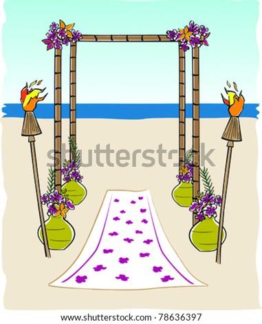 Retro Tropical Tiki Bamboo Wedding Arch Vector Illustration - stock vector