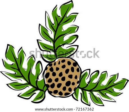 Retro Tropical Ulu Breadfruit Plant Vector Illustration - stock vector
