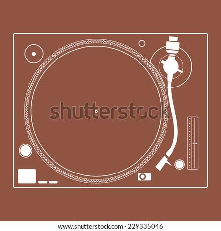 Retro turntable vinyl record player. Turntable icon. - stock vector