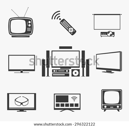 Retro TV and flat screen TV, home theater and smart TV icons. Television and display, technology symbol and vintage antenna. Vector illustration - stock vector