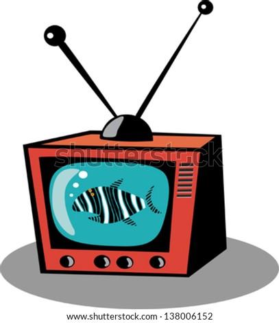 Retro TV and funny fish - stock vector