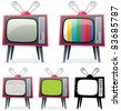 Retro TV: Cartoon illustration of a retro TV in 5 different versions. You can replace the green screen on the 4-th TV with your own picture. No transparency used. Basic (linear) gradients. - stock vector