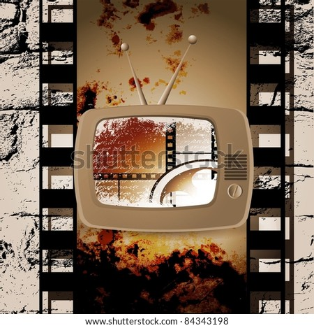 Retro TV film. Grunge - stock vector