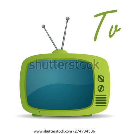 Retro TV icon - stock vector