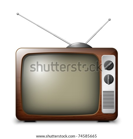Retro TV in the wooden case, vector - stock vector