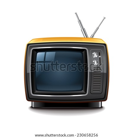 Retro tv isolated on white photo-realistic vector illustration