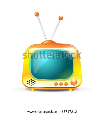Retro TV on white background - stock vector