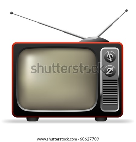 Retro TV set realistic vector illustration. - stock vector