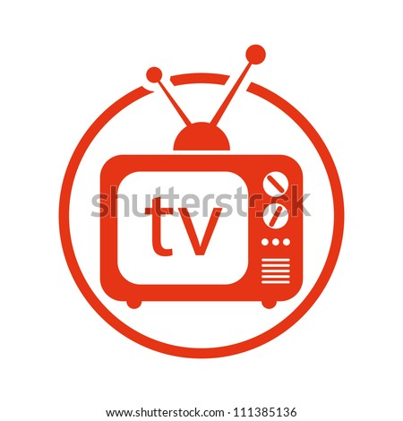 Retro tv set vector icon. - stock vector
