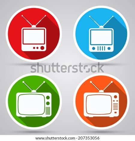 Retro TV set vector icons. White flat miniatures with long shadows. - stock vector