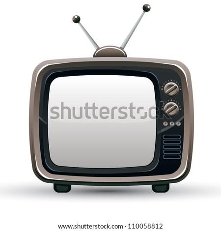 Retro TV set, vector illustration. - stock vector