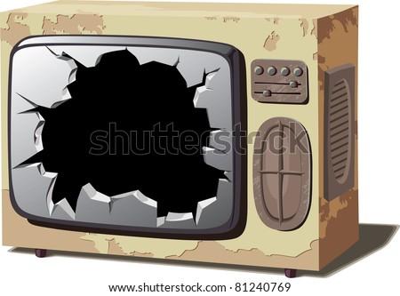 Retro TV set with a broken screen. - stock vector
