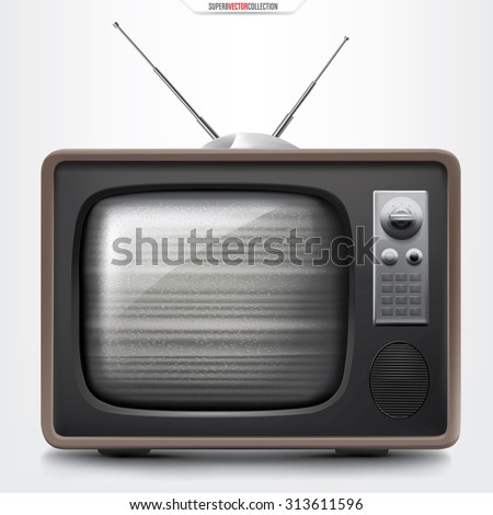 Retro TV set with empty channel noise. High quality detailed vector illustration. - stock vector