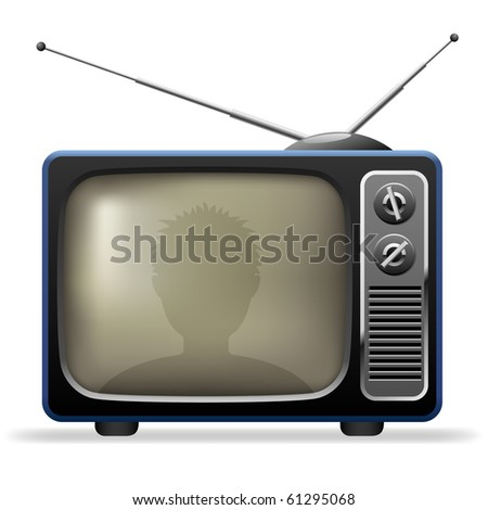 Retro TV set with viewer reflection. - stock vector