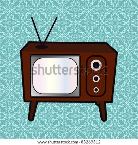retro tv  wallpaper behind - stock vector