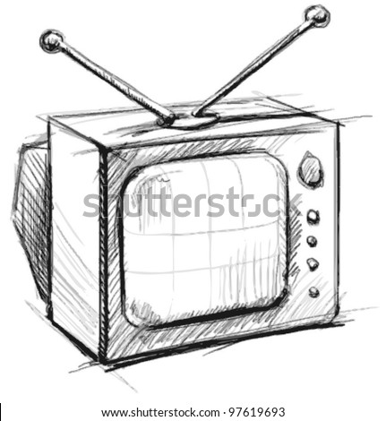 Retro tv with antenna. Hand drawing sketch vector illustration isolated on white background - stock vector