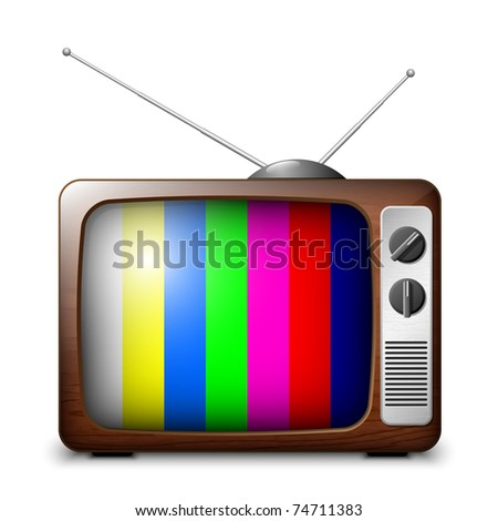 Retro TV with color frame, vector - stock vector
