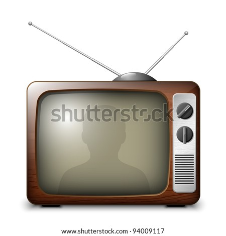 Retro TV with reflection of the viewer. EPS10 - stock vector