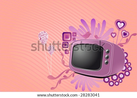 Retro tv with stylish sweet design elements - stock vector