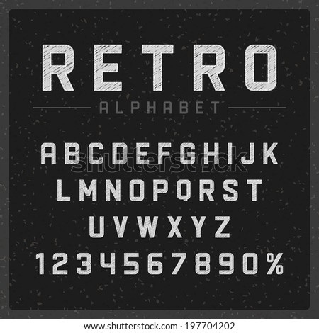 Retro type font vintage chalk typography on chalkboard. Vector design elements.