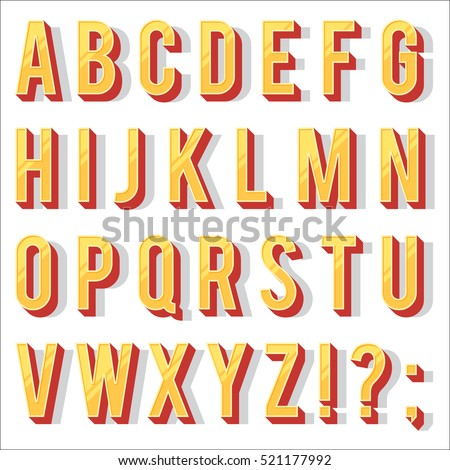 Retro Type Font Vintage Typography Letters Alphabet Vector Illustration Template Isolated On White