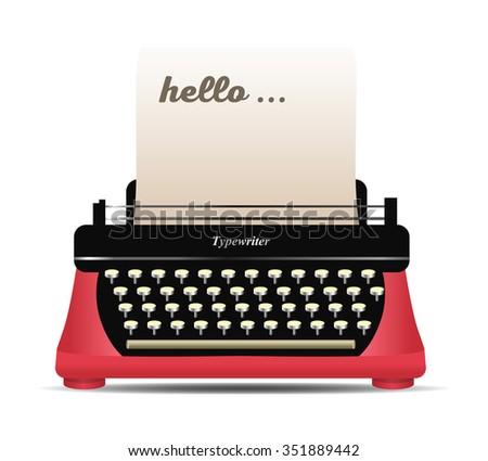 Retro typewriter vector illustration - stock vector