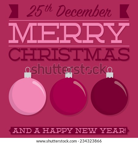 Retro typographic bauble card in vector format - stock vector