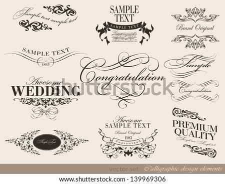 Retro typography, calligraphic design elements, page decoration, label, ribbon