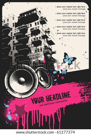 retro urban party flyer template with building, speakers and grungy textbox - stock vector