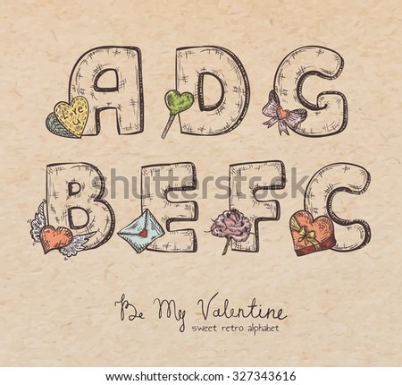 Retro Valentine alphabet - a, b, c, d, e, f, g - vintage letters on realistic cardboard paper background, with symbols of holiday, decorative artistic elements