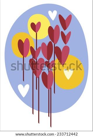 Retro Valentine's Day card. Love bouquet.  Valentine's day banner. - stock vector