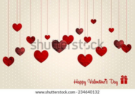 Retro Valentines card with abstract paper structure hanging red hearts - vector illustration - stock vector