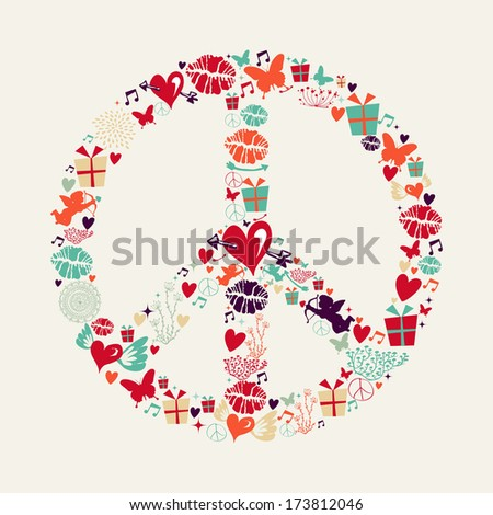 Retro Valentines day elements, peace and love shape illustration greeting card. EPS10 vector file organized in layers for easy editing. - stock vector