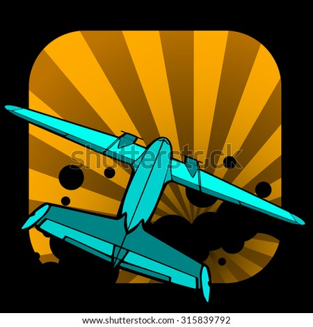 retro vector airplane illustration - stock vector
