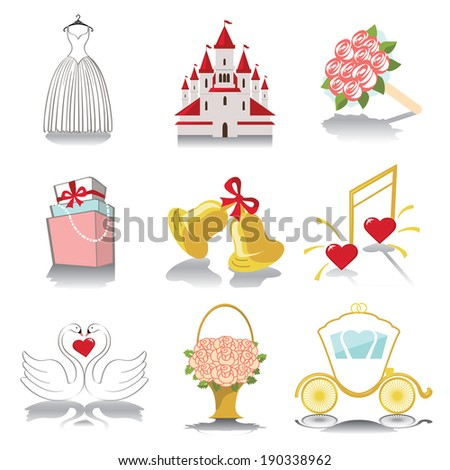 Retro Vector Design wedding  icons for Web and Mobile.Set of  wedding items in white background. Vector - stock vector