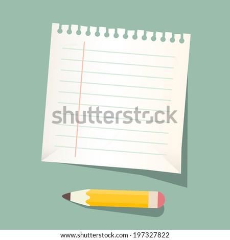 Retro Vector Empty White Paper Sheet with Pencil - stock vector