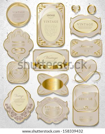 Retro vector gold framed label. Premium design elements/ Old style frame - stock vector