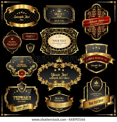 Retro vector gold frames on black background. Premium design elements. - stock vector