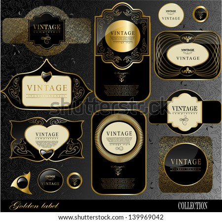 Retro vector golden black  label/can be used for invitation, congratulation or website layout vector - stock vector