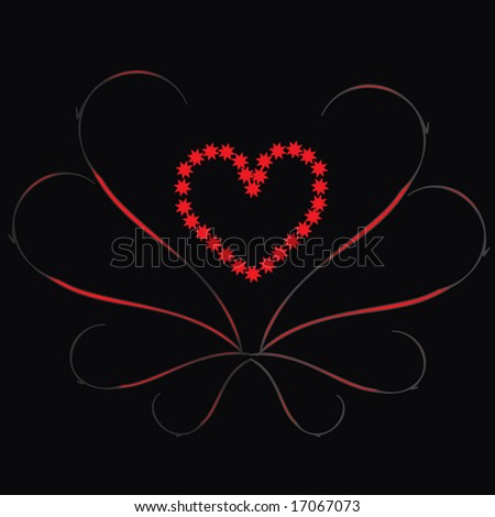 retro vector lovely hearts with grunge circles and branches - stock vector