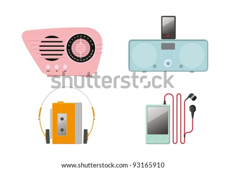 Retro vector music players and radios - stock vector