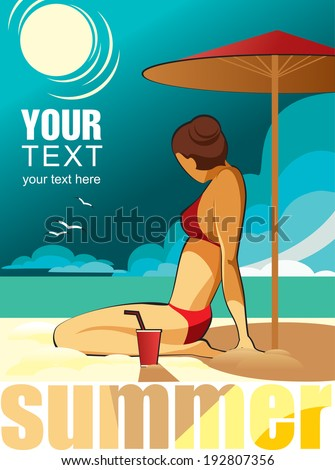 Retro vector poster of a girl in red bikini on the sunny beach at summer vacation.