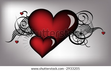 retro vector red hearts - stock vector