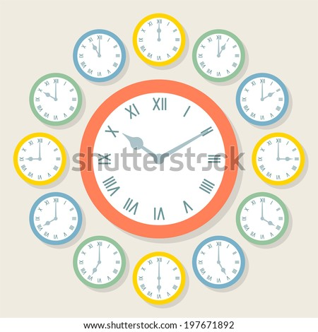 Retro Vector Roman Numeral Clocks Showing All 12 Hours - stock vector